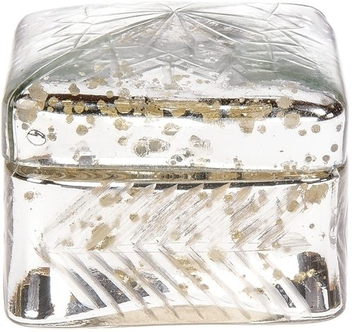 BLOWOUT Vintage Mercury Glass Trinket Box (2.5-Inch, Silver, Square Design)