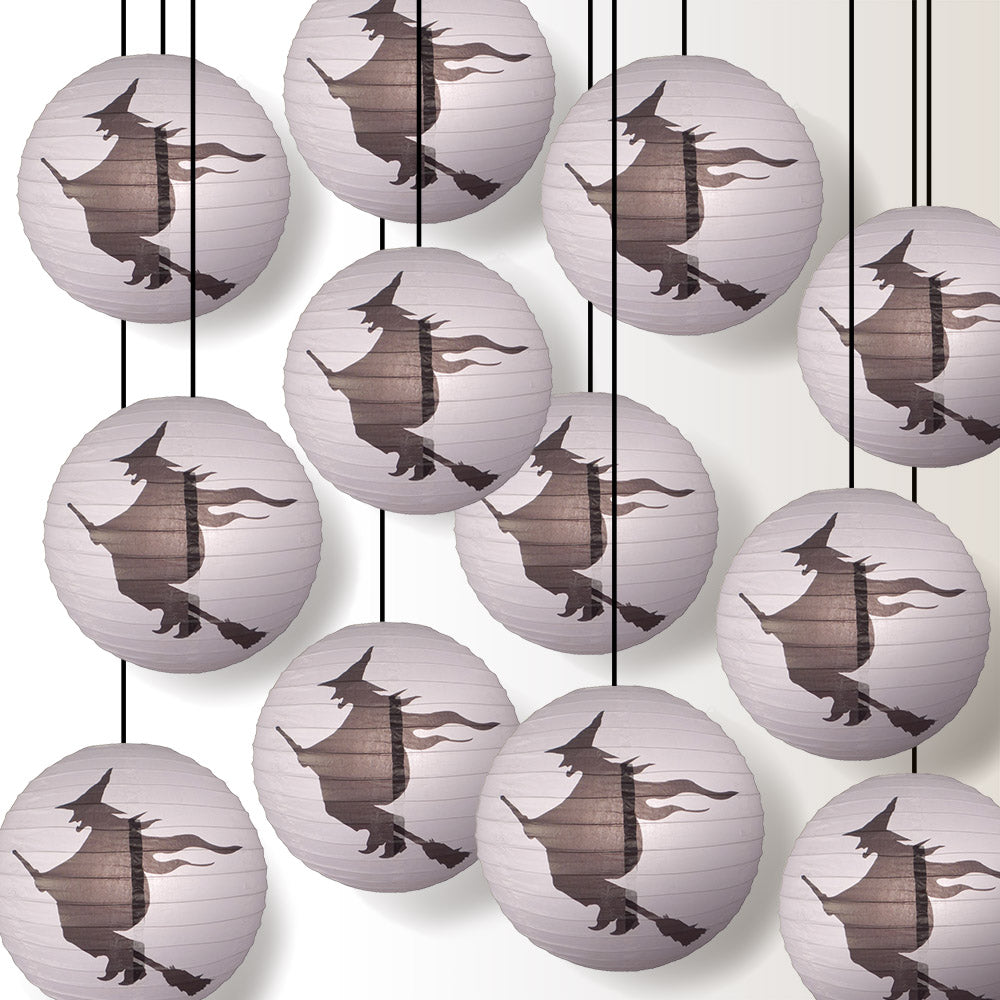 "12 PACK | 16"" Flying Witch Halloween Paper Lantern - PaperLanternStore.com - Paper Lanterns, Decor, Party Lights & More"