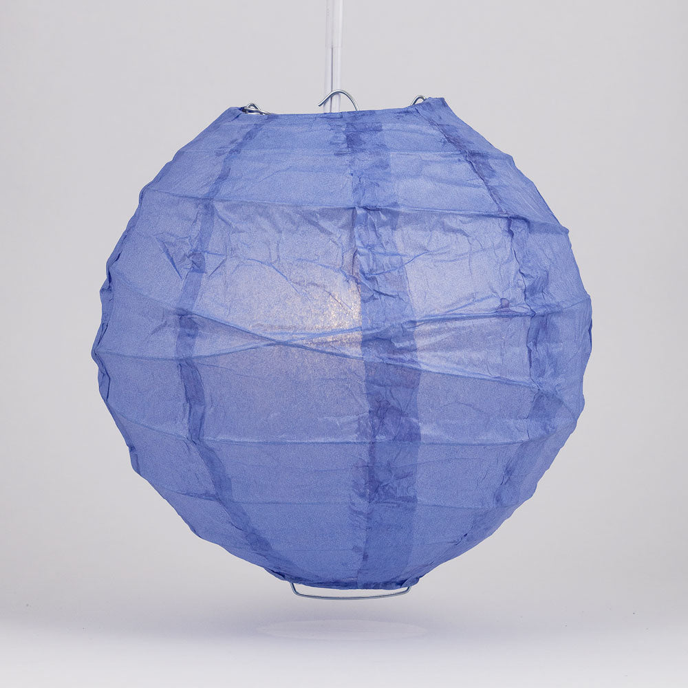 "14"" Astra Blue Round Paper Lantern, Crisscross Ribbing, Chinese Hanging Wedding & Party Decoration"