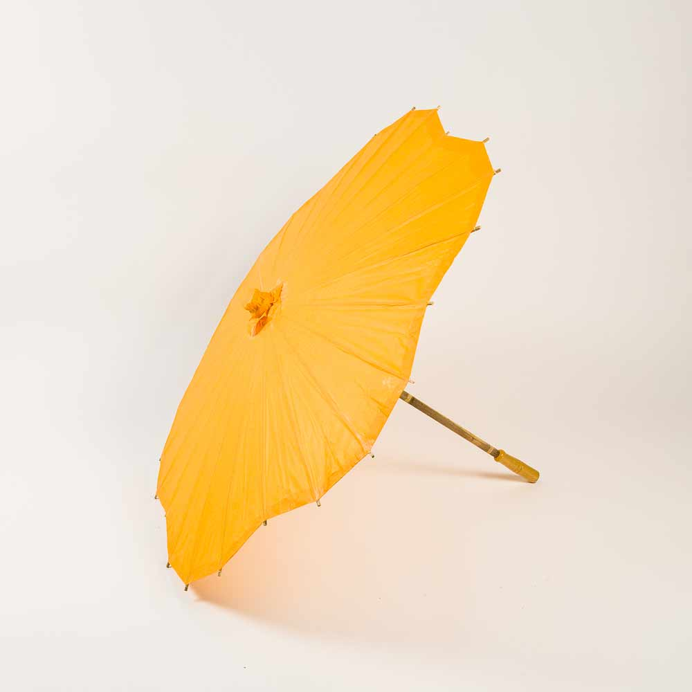 "32"" Orange Paper Parasol Umbrella, Scallop Shaped (Sun Protection)"