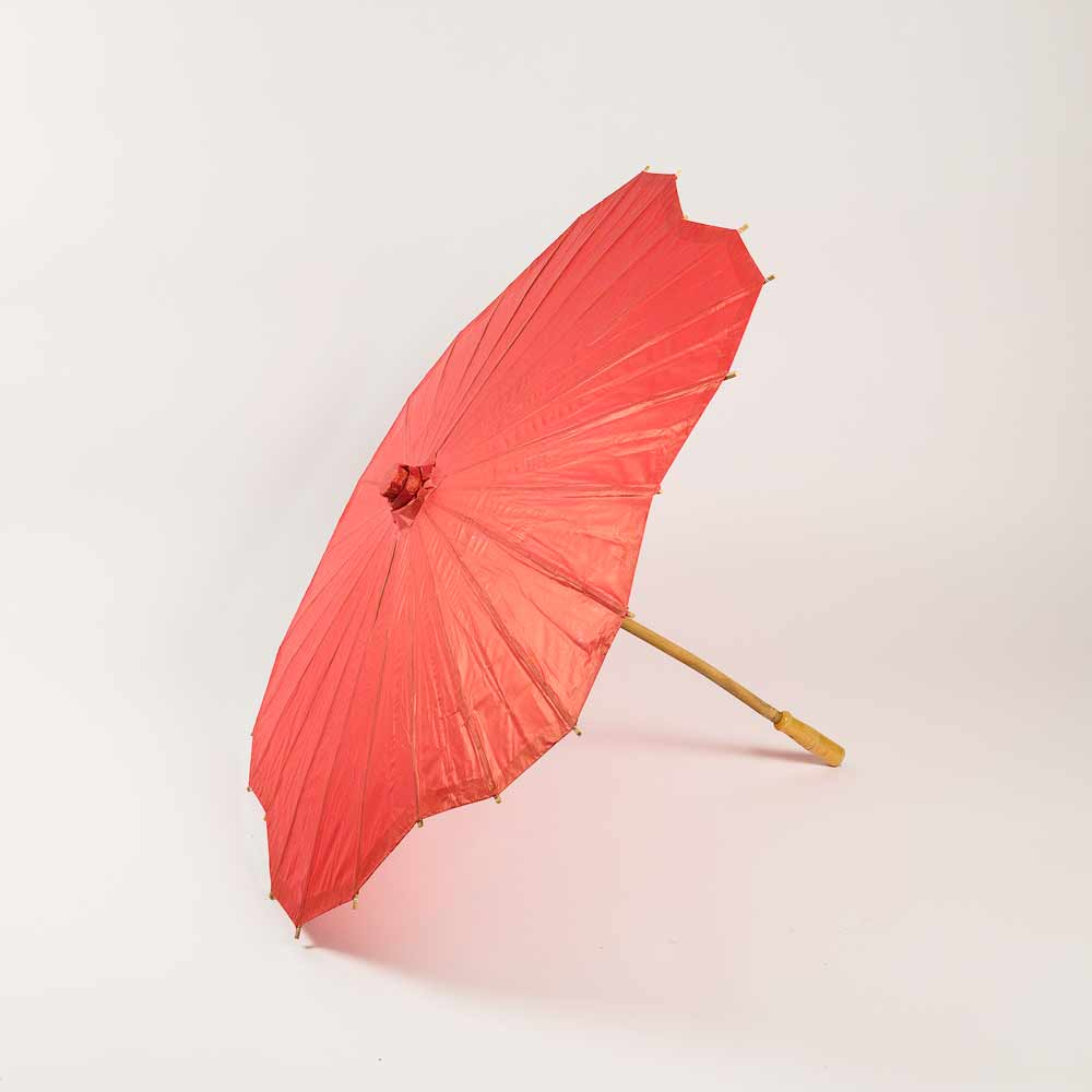 "32"" Red Paper Parasol Umbrella, Scallop Shaped (Sun Protection)"