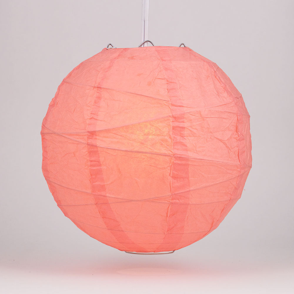 "12"" Roseate / Pink Coral Round Paper Lantern, Crisscross Ribbing, Chinese Hanging Wedding & Party Decoration"