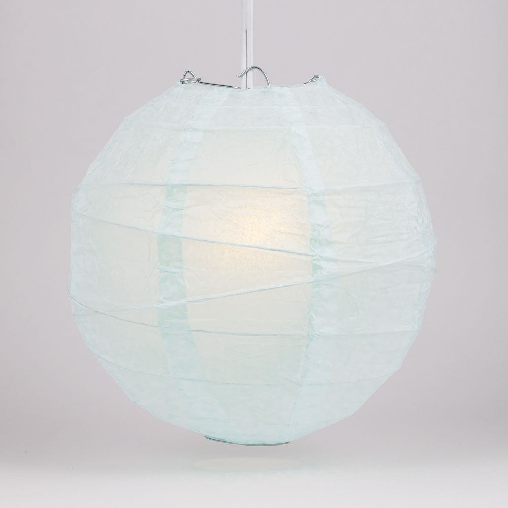 "12"" Arctic Spa Blue Round Paper Lantern, Irregular Ribbed, Chinese Hanging Wedding & Party Decoration"