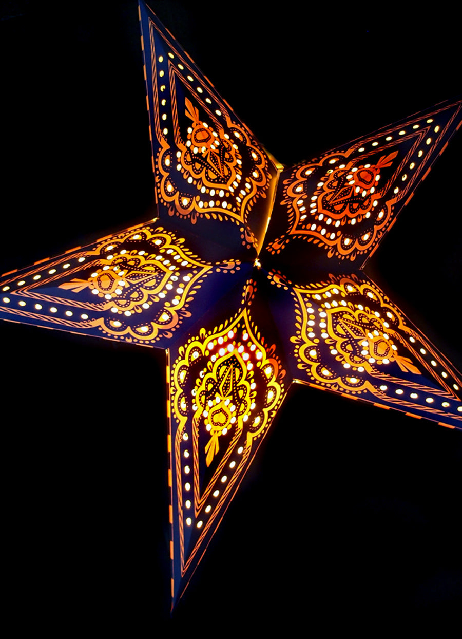 "24"" Blue on Yellow Mehandi Paper Star Lantern, Chinese Hanging Wedding & Party Decoration - PaperLanternStore.com - Paper Lanterns, Decor, Party Lights & More"