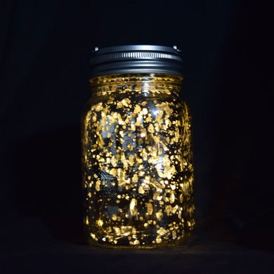 BULK PACK (6) Fantado Wide Mouth Silver Mercury Glass Mason Jar Lights w/ Hanging Warm White Fairy LED Kit