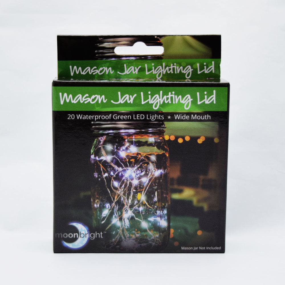 Fantado Wide Mouth Light Lime Mason Jar Light w/ Hanging Green Fairy LED Kit