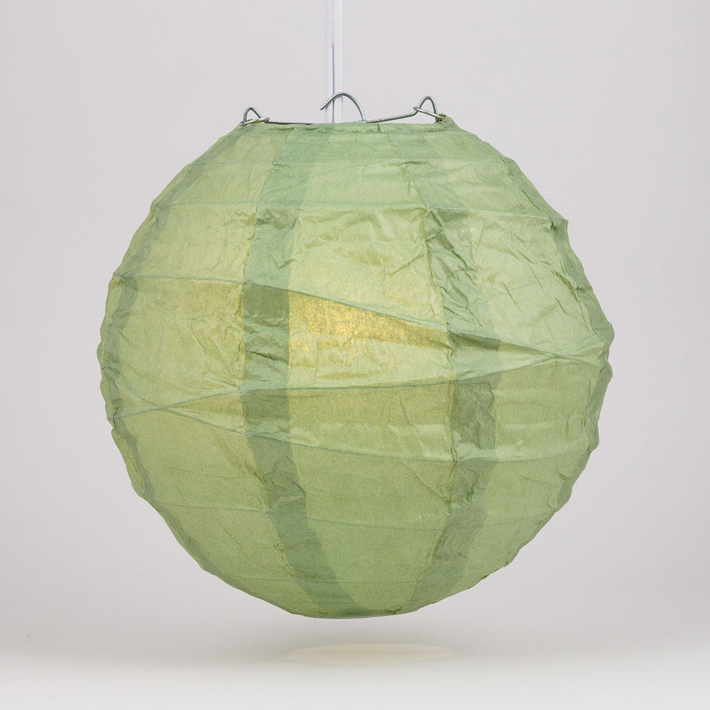 "24"" Sea Green Round Paper Lantern, Crisscross Ribbing, Chinese Hanging Wedding & Party Decoration"