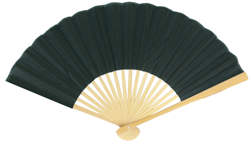 "9"" Black Silk Hand Fans for Weddings (10 Pack)"