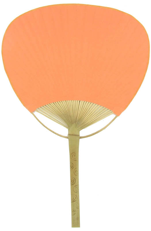 "9"" Orange Paddle Paper Hand Fans for Weddings (10 Pack)"