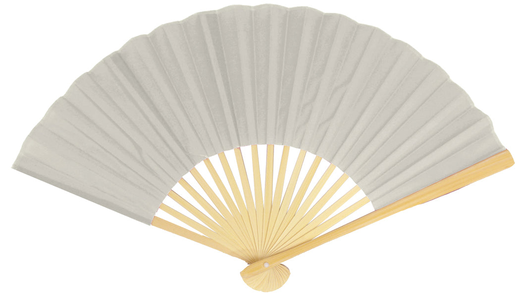 "9"" Silver Silk Hand Fans for Weddings (10 Pack)"