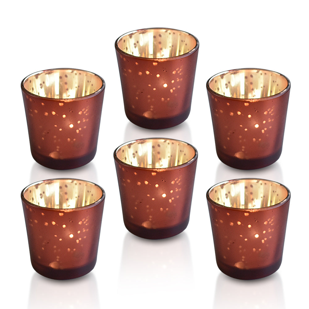 24 Pack | Vintage Mercury Glass Candle Holders (2.5-Inch, Lila Design, Liquid Motif, Rustic Red Copper) - For Use with Tea Lights