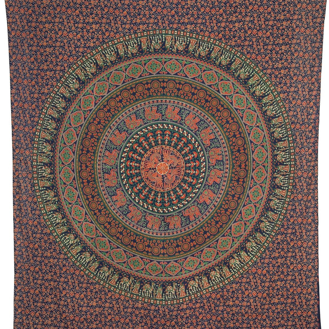 Kadi Elephant Mandala Tapestry, Bohemian Wall Hanging and Bedspread (Large, 7 X 8 Feet, Blue, 100% Cotton, Fair Trade Certified)