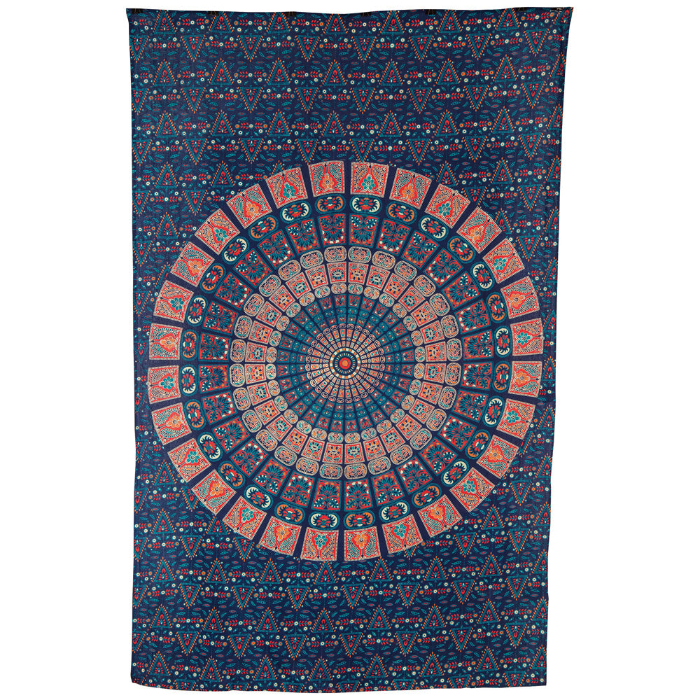 BLOWOUT Cyra Bohemian Mandala Tapestry, Wall Hanging, and Bedspread (Medium, 4.5 x 7 Feet, Blue and Orange, 100% Cotton, Fair Trade Certified)