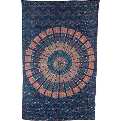 Cyra Bohemian Mandala Tapestry, Wall Hanging, and Bedspread (Medium, 4.5 x 7 Feet, Blue and Orange, 100% Cotton, Fair Trade Certified) - PaperLanternStore.com - Paper Lanterns, Decor, Party Lights & More