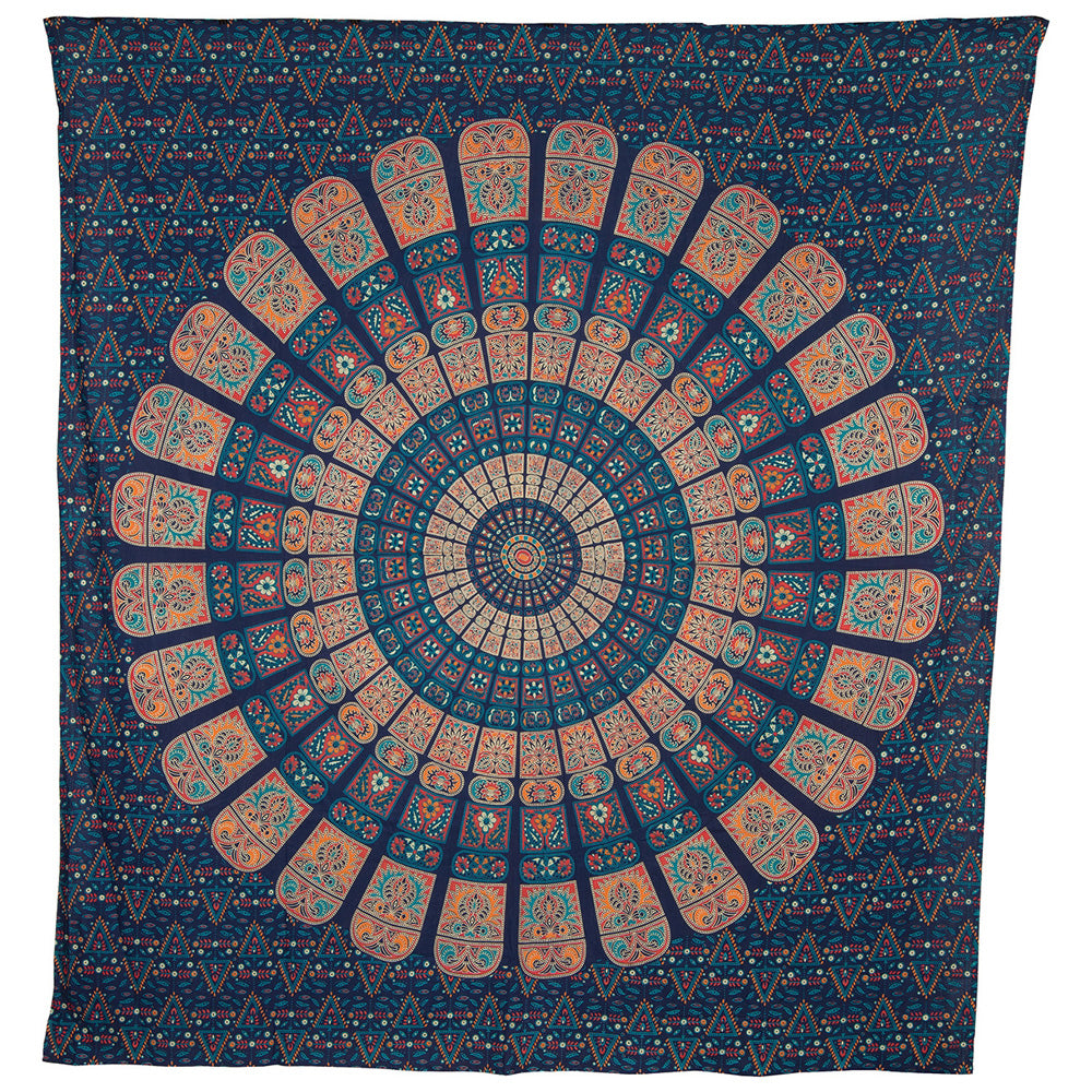 Cyra Bohemian Mandala Tapestry, Wall Hanging, and Bedspread (Large, 7 X 8 Feet, Blue and Orange, 100% Cotton, Fair Trade Certified)