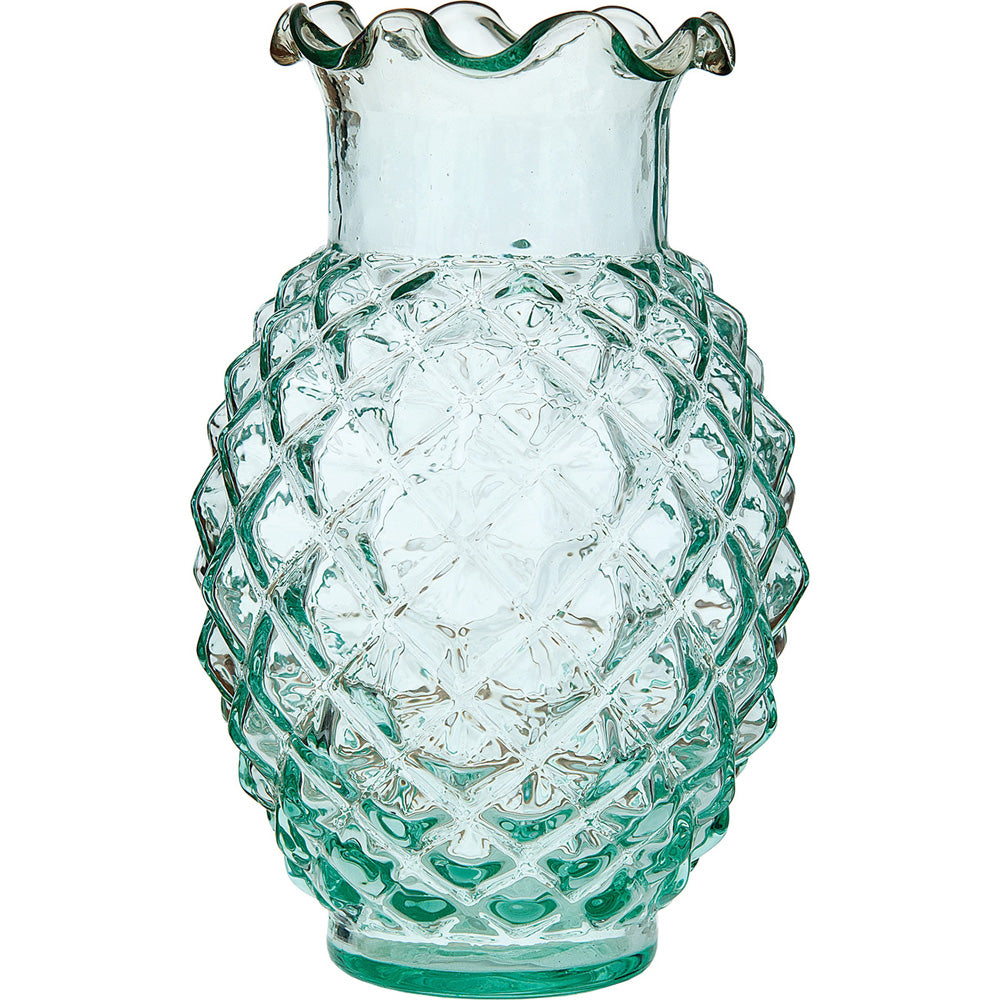 Vintage Glass Vase (6-Inch, Willa Ruffled Pineapple Design, Vintage Green) - Decorative Flower Vase - For Home Decor and Wedding Centerpieces