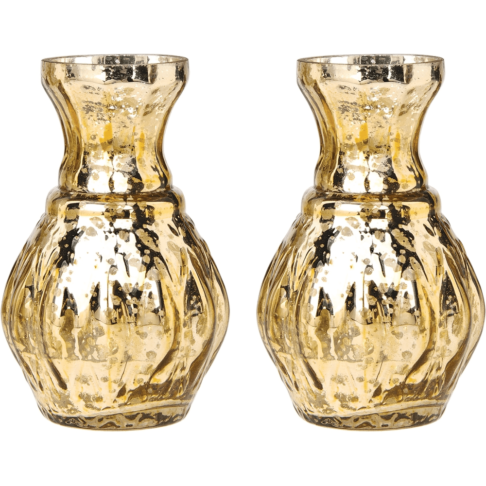 2 PACK | Vintage Mercury Glass Vase (4-Inch, Bernadette Mini Ribbed Design, Gold) - Decorative Flower Vase - For Home Decor and Wedding Centerpieces