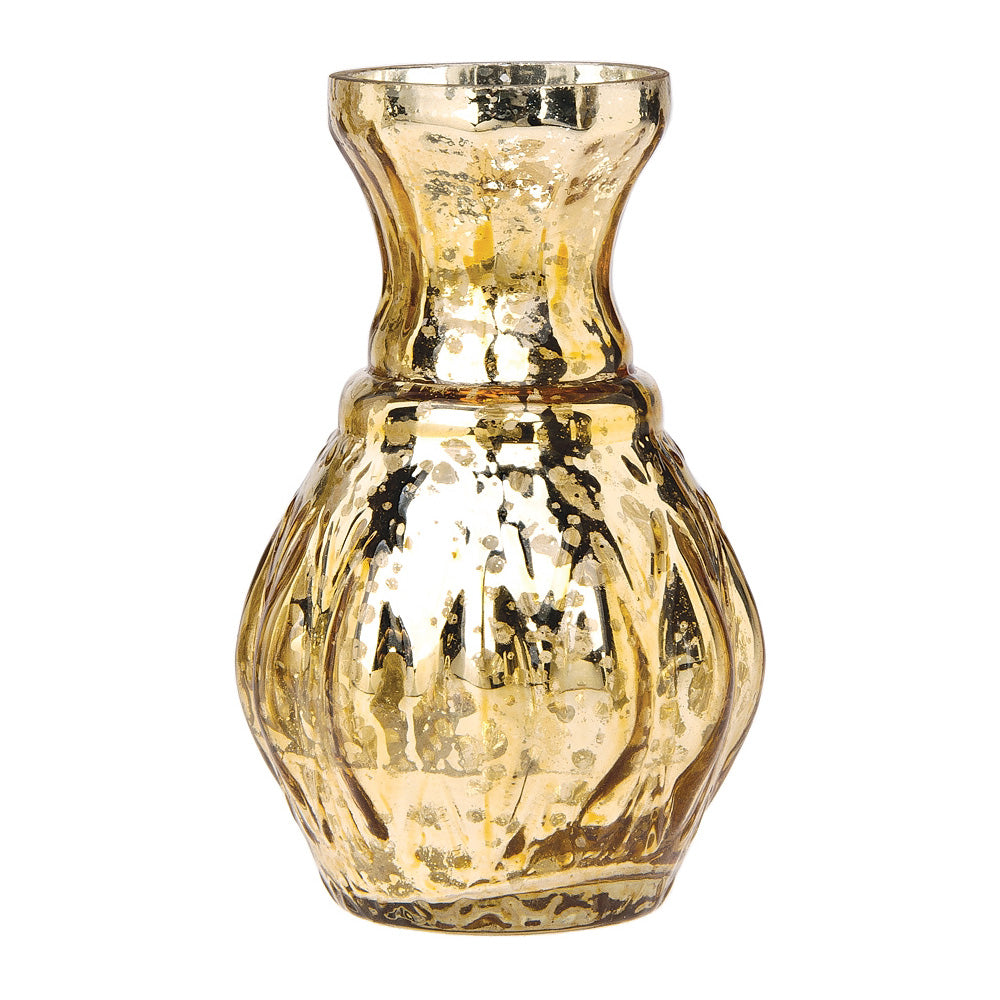4 Pack | Vintage Mercury Glass Vase (4-Inch, Bernadette Mini Ribbed Design, Gold) - Decorative Flower Vase - For Home Decor and Wedding Centerpieces