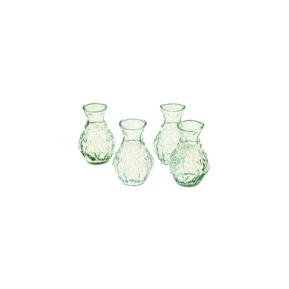 4 Pack | Light Green Glass Vase (4-Inch, Bernadette Mini Ribbed Design) - Decorative Flower Vase - For Home Decor and Wedding Centerpieces