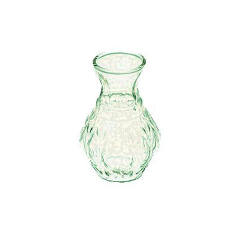 BLOWOUT Light Green Glass Vase (4-Inch, Bernadette Mini Ribbed Design) - Decorative Flower Vase - For Home Decor and Wedding Centerpieces