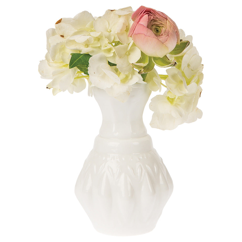 Milk Glass Vase (4-Inch, Bernadette Mini Ribbed Design, Silver) - Decorative Flower Vase - for Home Décor, Party Decorations and Wedding Centerpieces