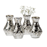Vintage Mercury Glass Vase (4-Inch, Bernadette Mini Ribbed Design, Silver) - Decorative Flower Vase - for Home Décor, Party Decorations and Wedding Centerpieces