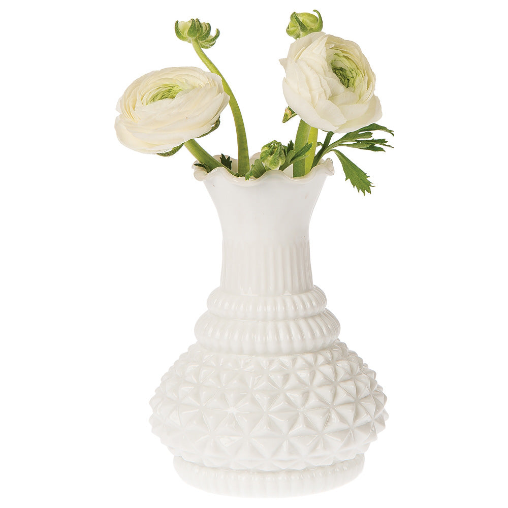 Vintage Glass Vase - 5.75-in Sophia Ruffled Genie Design, Milk White - Home Decor Flower Vase - Decorative Dining Table Centerpiece for Weddings Parties Events - Ideal House Warming Gift