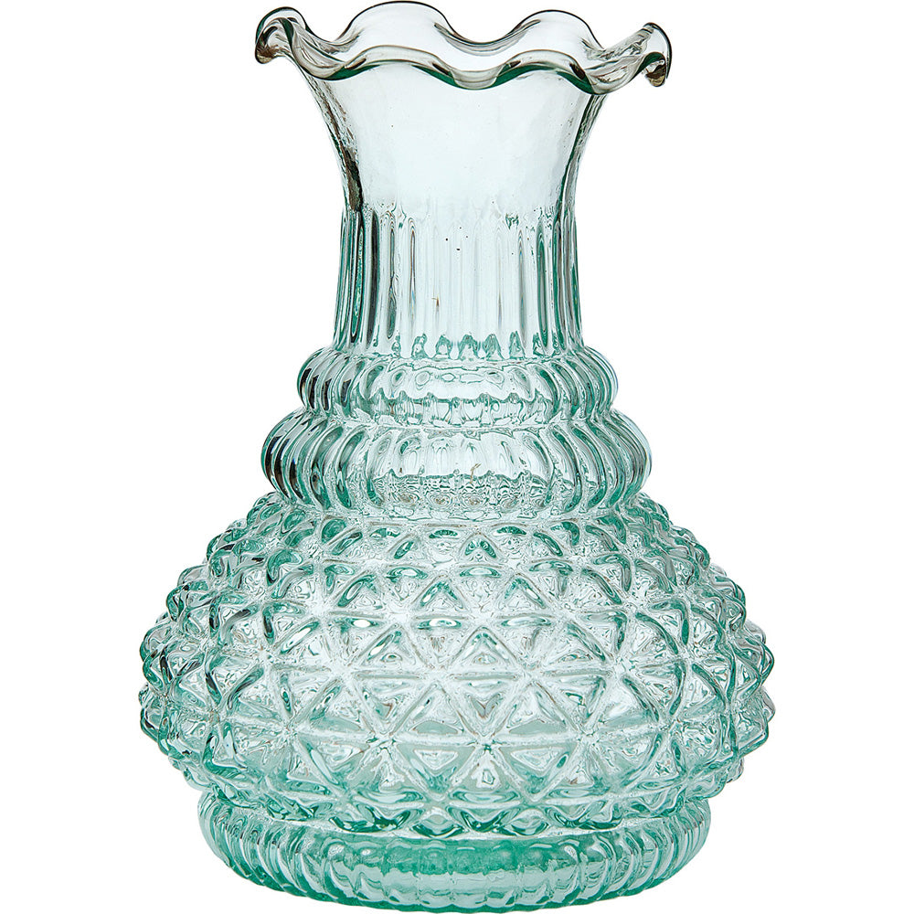 Vintage Glass Vase - 5.75-in Sophia Ruffled Genie Design, Vintage Green - Home Decor Flower Vase - Decorative Dining Table Centerpiece for Weddings Parties Events - Ideal House Warming Gift - PaperLanternStore.com - Paper Lanterns, Decor, Party Lights & More