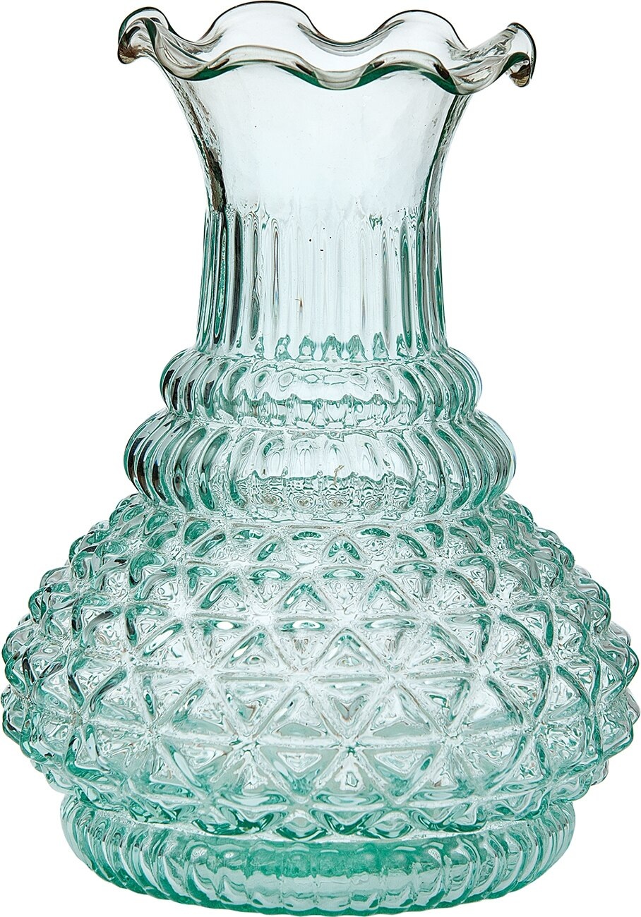 BLOWOUT Vintage Glass Vase - 5.75-in Sophia Ruffled Genie Design, Vintage Green - Home Decor Flower Vase - Decorative Dining Table Centerpiece for Weddings Parties Events - Ideal House Warming Gift