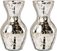 2 PACK | Mini Vintage Mercury Glass Vase (4.5-Inch, Adelaide Cone Top Design, Silver) - Decorative Flower Vase for Home Décor