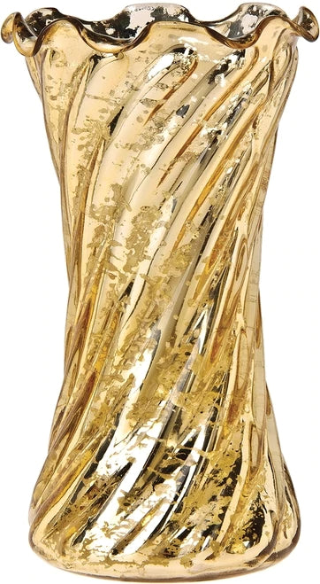 Vintage Mercury Glass Vase (6-Inch, Grace Ruffled Swirl Design, Gold) - Decorative Flower Vase - For Home Decor and Wedding Centerpieces