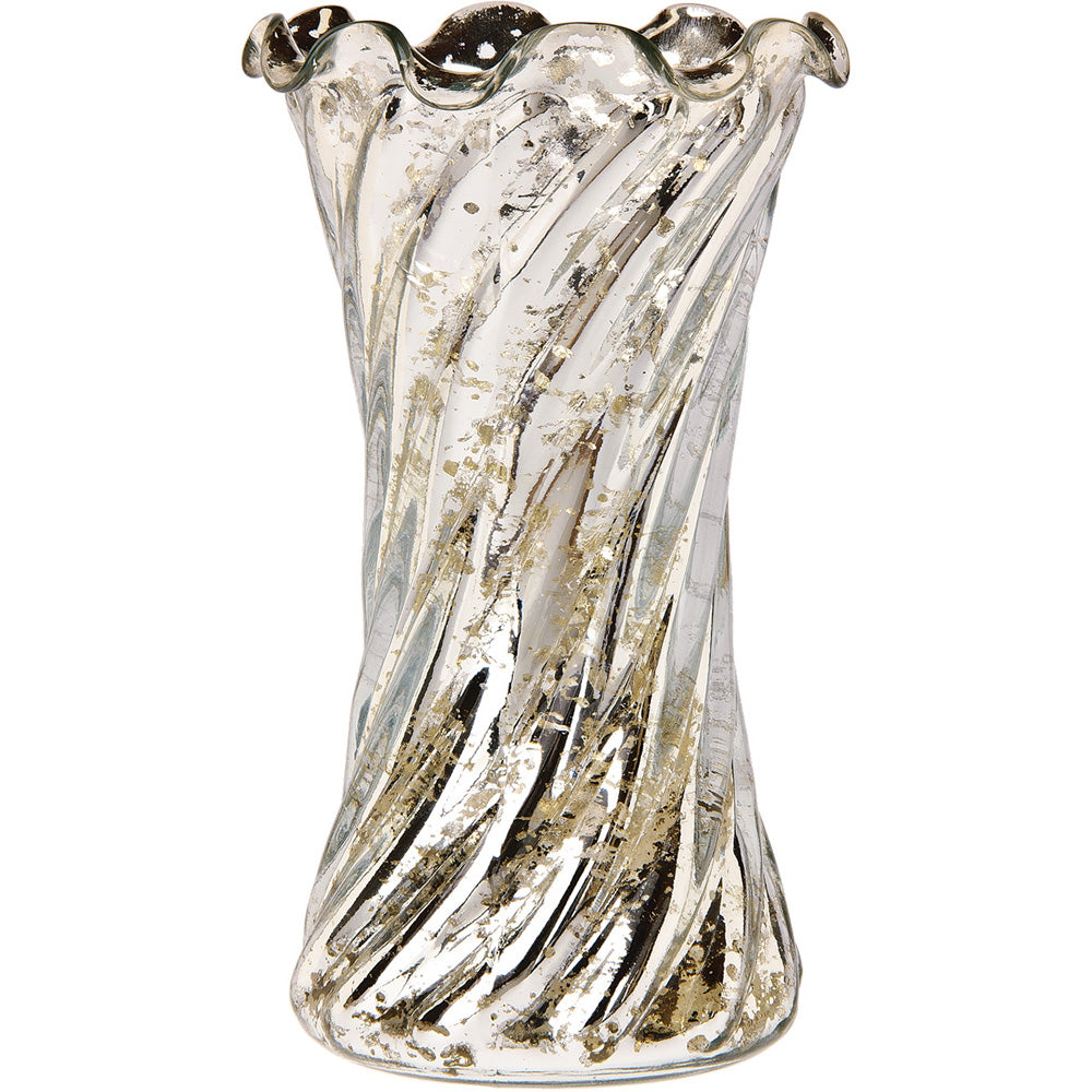 Vintage Mercury Glass Vase (6-Inch, Grace Ruffled Swirl Design, Silver) - Decorative Flower Vase - For Home Decor and Wedding Centerpieces - PaperLanternStore.com - Paper Lanterns, Decor, Party Lights & More