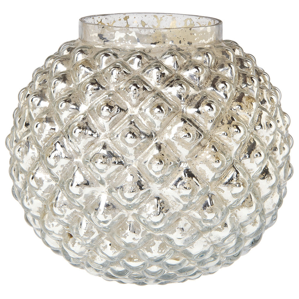 BLOWOUT Vintage Mercury Glass Vase (5-Inch, Hazel Bubble Design, Silver) - Decorative Flower Vase - For Home Decor, Party Decorations and Wedding Centerpieces