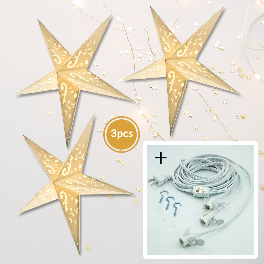 "3-PACK + Cord | Ivory White Jasmine 24"" Illuminated Paper Star Lanterns and Lamp Cord Hanging Decorations"
