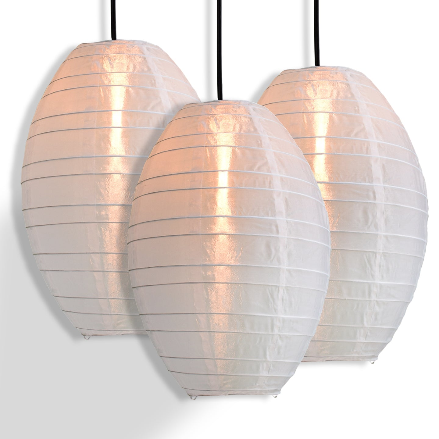 3-PACK | White Kawaii Unique Oval Egg Shaped Nylon Lantern, 10-inch x 14-inch