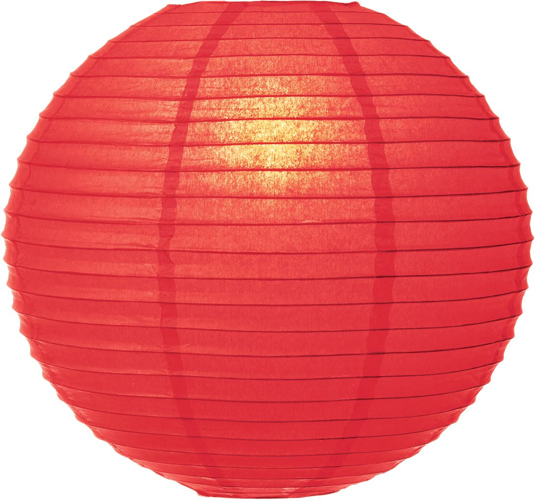 "30"" Poppy Red Jumbo Round Paper Lantern, Even Ribbing, Chinese Hanging Wedding & Party Decoration"