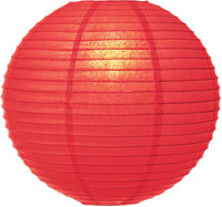"30"" Poppy Red Jumbo Round Paper Lantern, Even Ribbing, Chinese Hanging Wedding & Party Decoration - PaperLanternStore.com - Paper Lanterns, Decor, Party Lights & More"