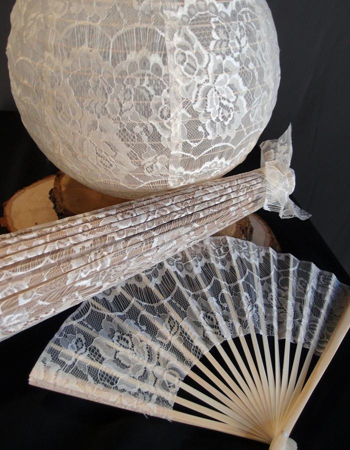 "9"" Beige / Ivory Lace Fabric Bamboo Hand Fan for Weddings - PaperLanternStore.com - Paper Lanterns, Decor, Party Lights & More"