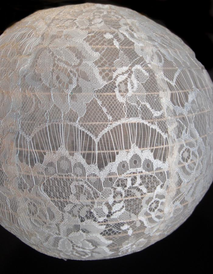 "16"" Beige / Ivory Lace Fabric Lantern, Even Ribbing, Hanging - PaperLanternStore.com - Paper Lanterns, Decor, Party Lights & More"