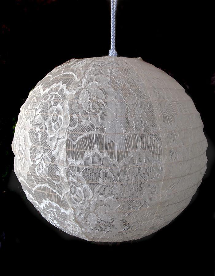 "20"" Beige / Ivory Round Lace Fabric Lantern, Even Ribbing, Hanging - PaperLanternStore.com - Paper Lanterns, Decor, Party Lights & More"