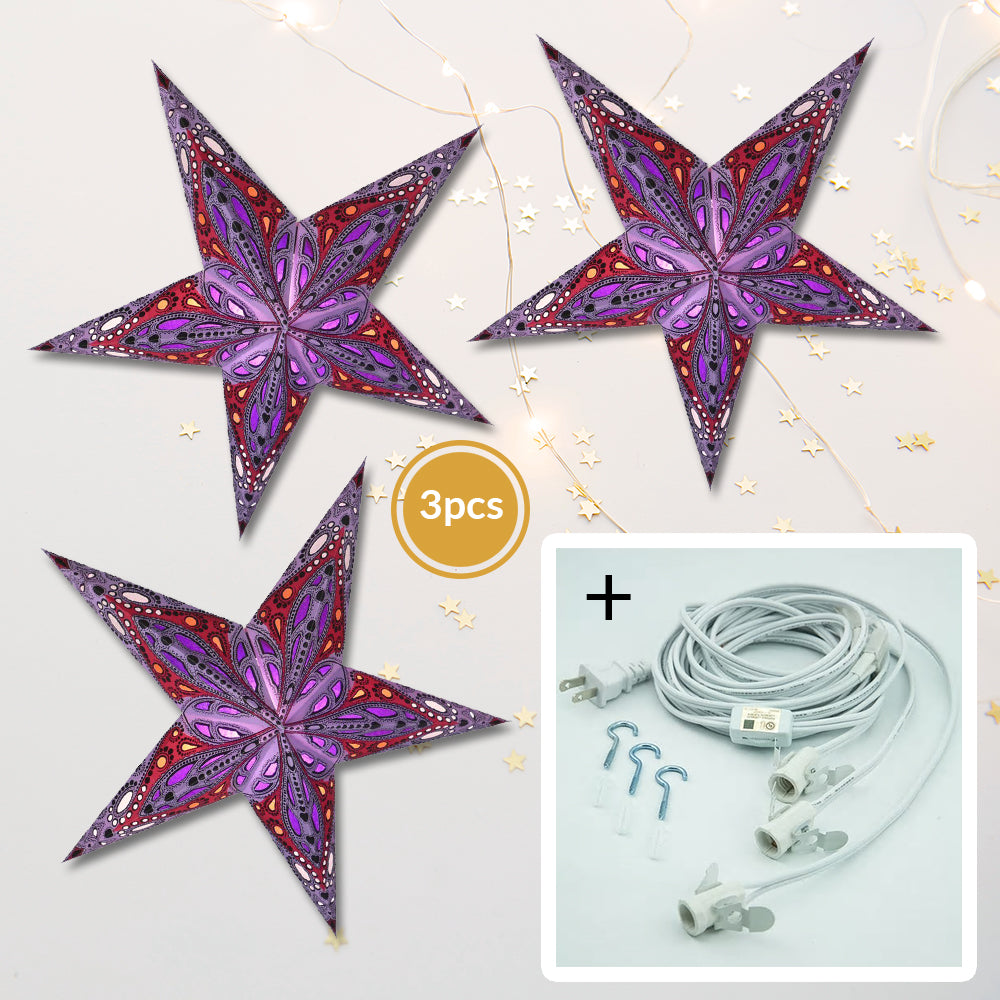 "3-PACK + Cord | Purple Dahlia 24"" Illuminated Paper Star Lanterns and Lamp Cord Hanging Decorations"