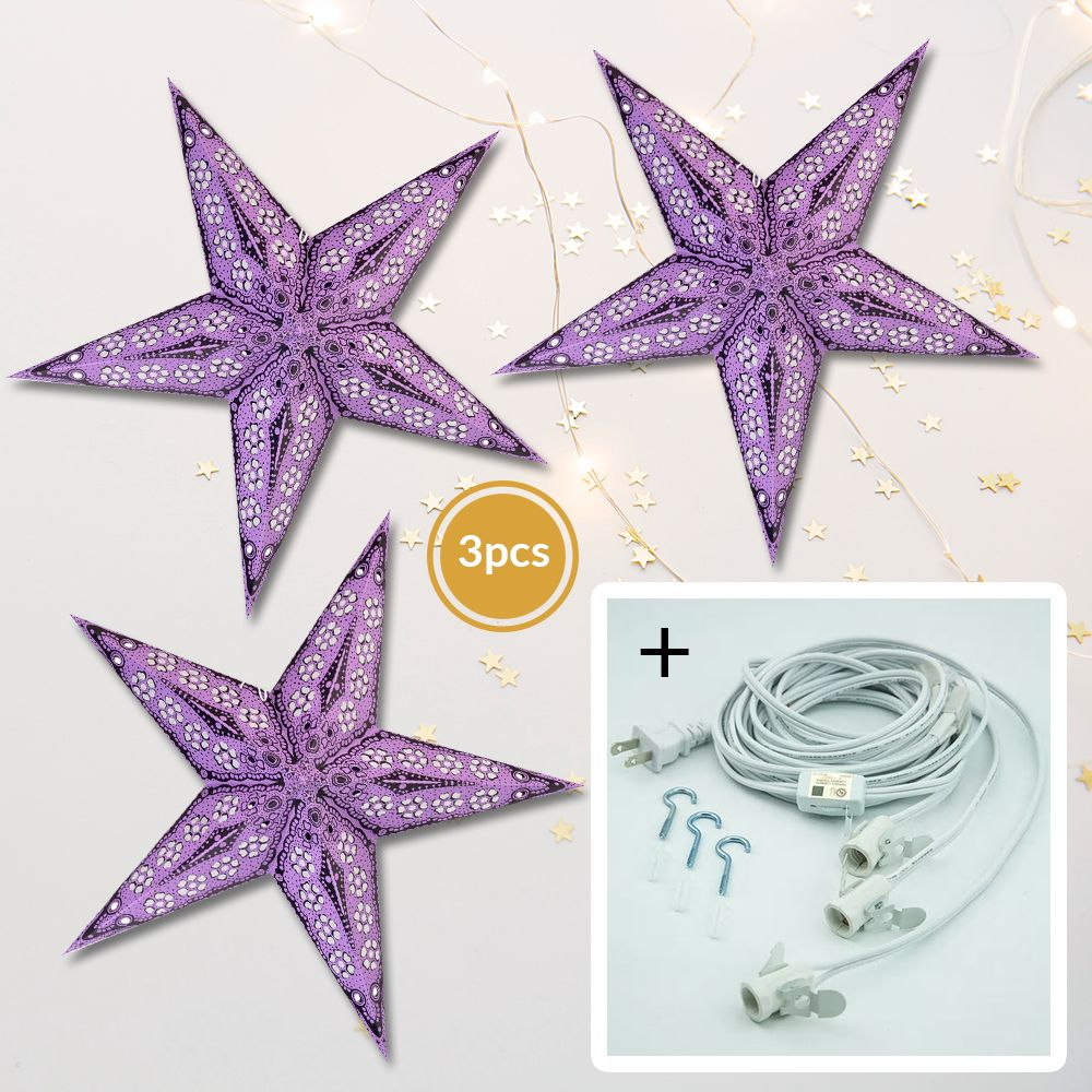 "3-PACK + Cord | Plum Purple Petal Cut 24"" Illuminated Paper Star Lanterns and Lamp Cord Hanging Decorations"