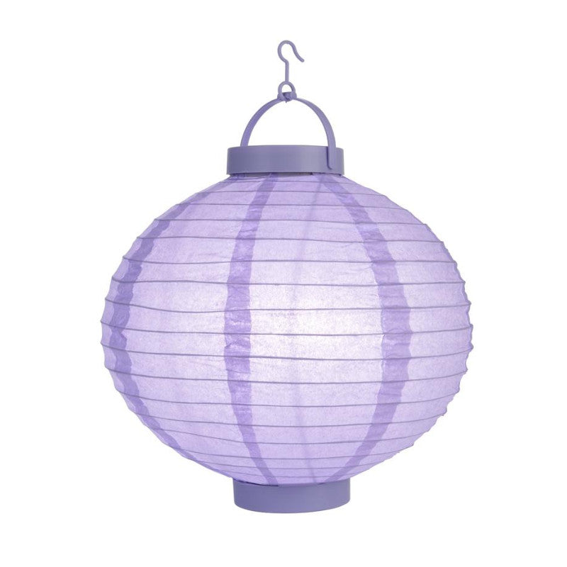 "BLOWOUT 10"" Lavender 16 LED Round Battery Operated Paper Lantern w/ Built-in Light-Up Switch"