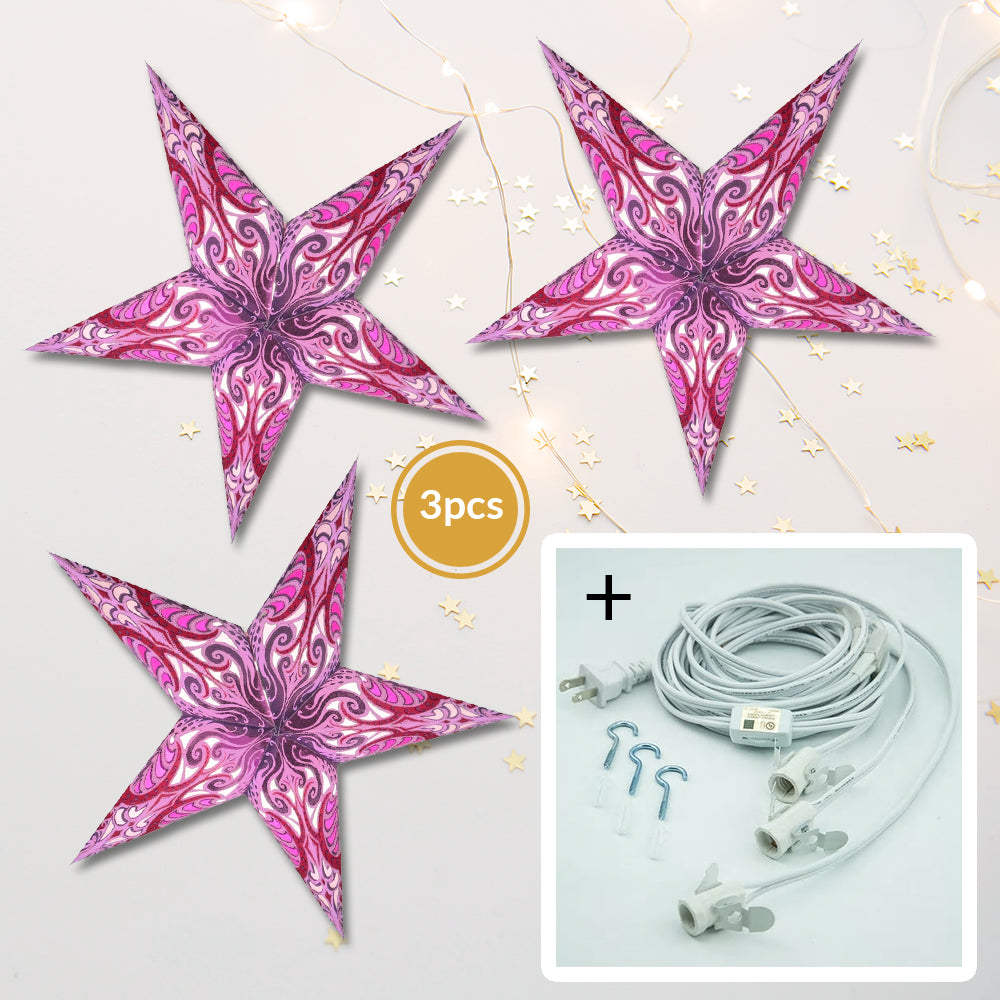 "3-PACK + Cord | Orchid Purple Splash 24"" Illuminated Paper Star Lanterns and Lamp Cord Hanging Decorations - PaperLanternStore.com - Paper Lanterns, Decor, Party Lights & More"