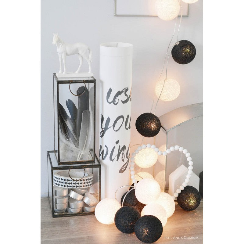 5.5 FT | 10 LED Battery Operated Black & White Round Cotton Ball String Lights With Timer