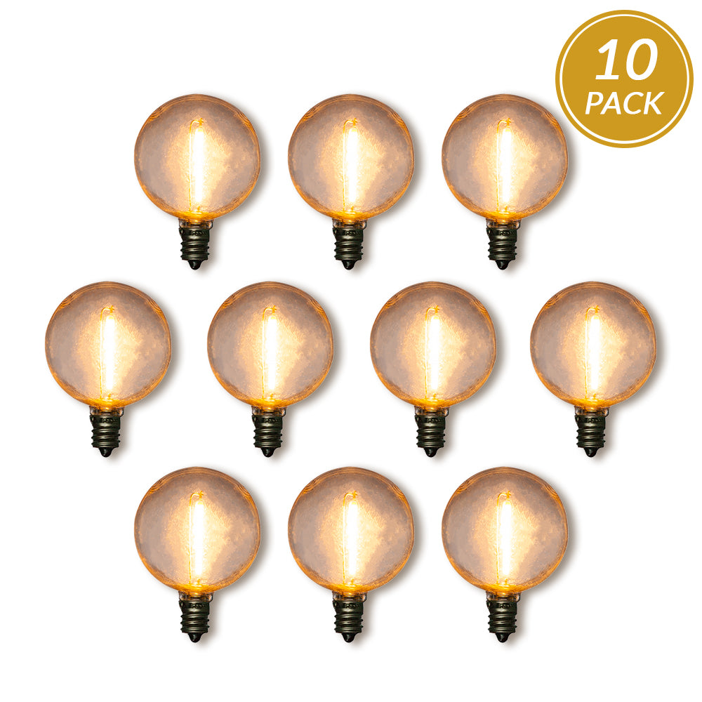 10-Pack LED Filament G40 Globe Shatterproof Light Bulb, Dimmable, 1W,  E12 Candelabra Base
