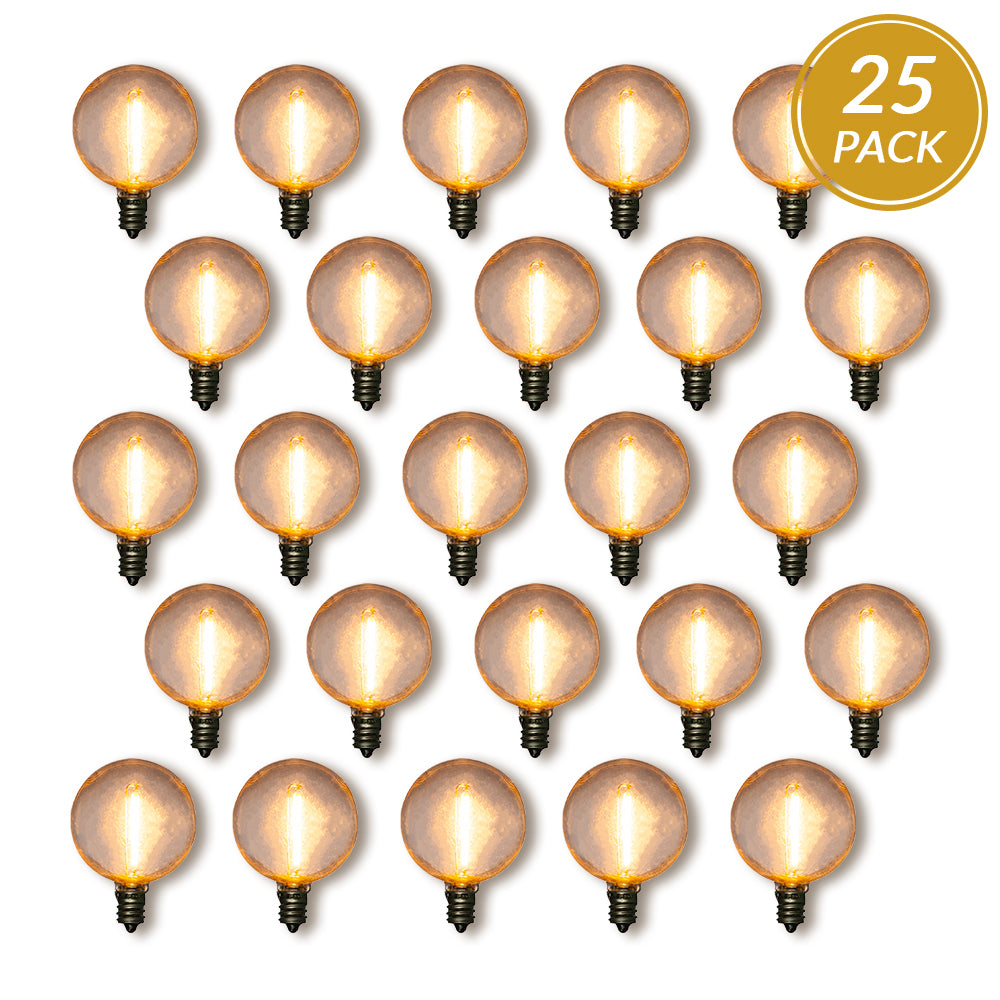 25-Pack LED Filament G50 Globe Shatterproof Light Bulb, Dimmable, 1W,  E12 Candelabra Base