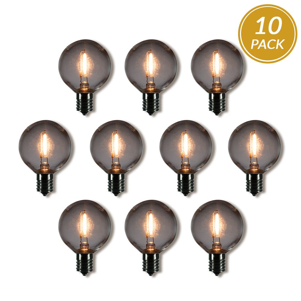 10-Pack LED Filament G50 Globe Shatterproof Light Bulb, Dimmable, 1W,  E17 Intermediate Base