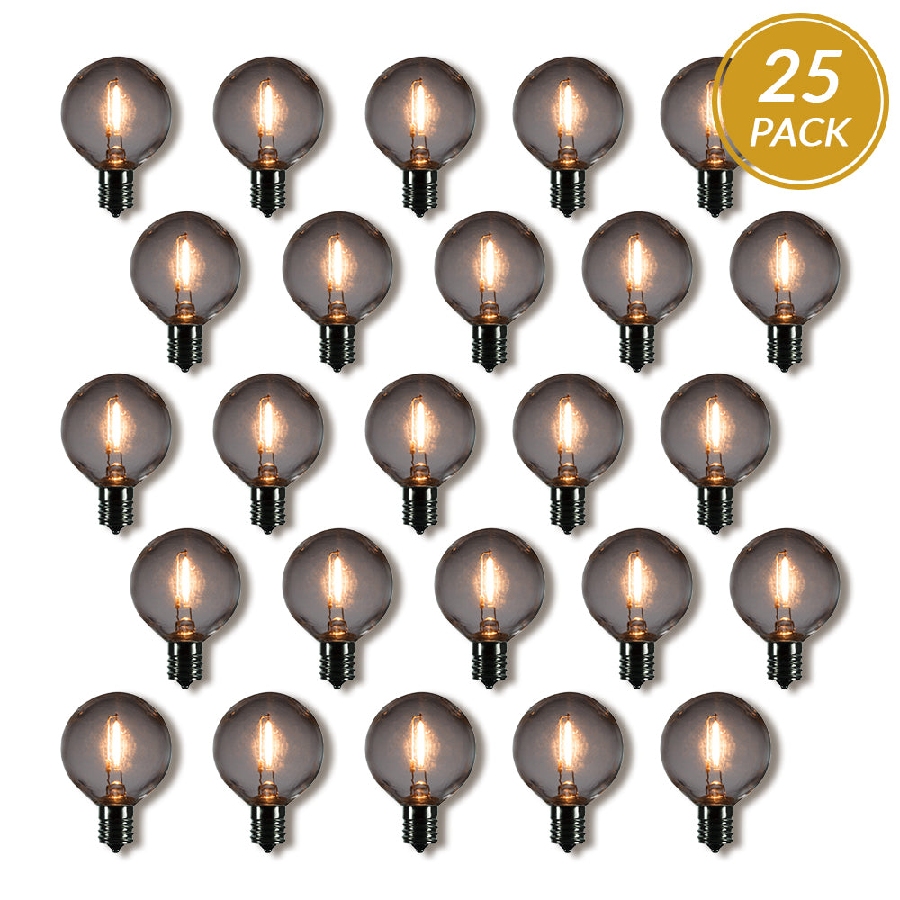 25-Pack LED Filament G50 Globe Shatterproof Light Bulb, Dimmable, 1W,  E17 Intermediate Base - PaperLanternStore.com - Paper Lanterns, Decor, Party Lights & More