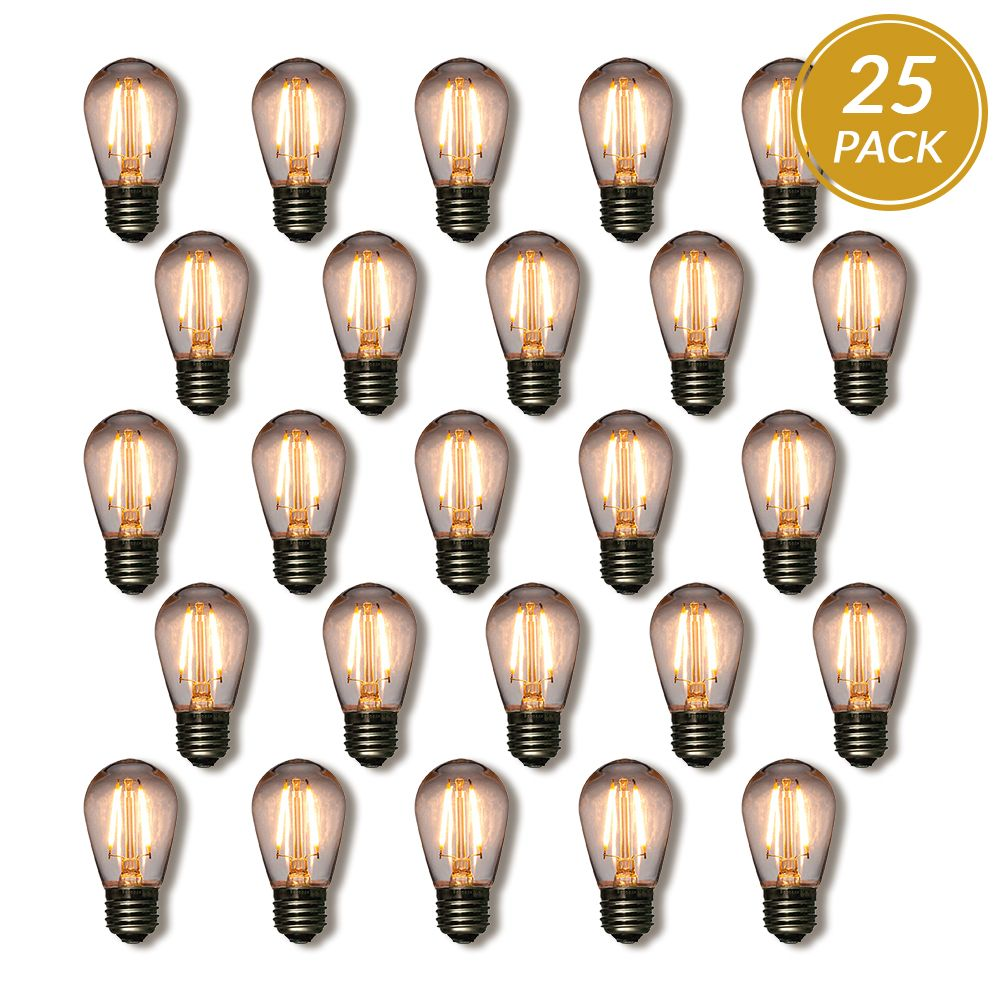 25-Pack LED Filament S14 Shatterproof Light Bulb, Dimmable, 2W,  E26 Medium Base